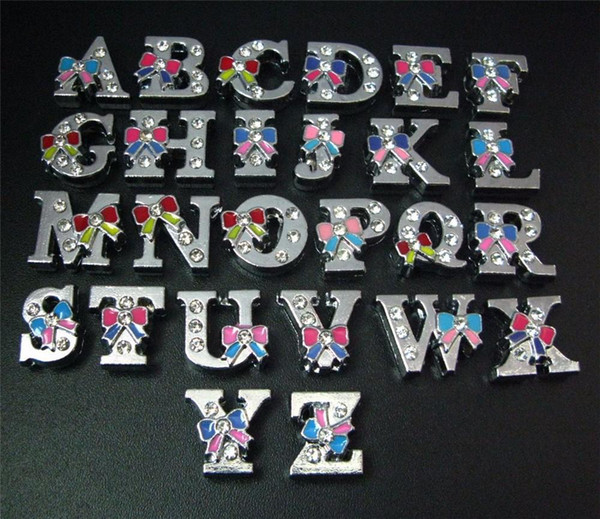 free express Wholesale 1300pcs 8mm Mix Color Rhinestone Bow Tie Slide letter DIY Accessories Fit 8mm Pet Collar Bracelet Belts