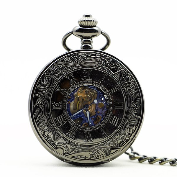 Luxury Steampunk Skeleton Mechanical Pocket Watch Antique Pocket & Fob Chain Watches Male Clock PJX1135