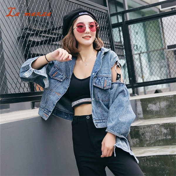Women Winter Denim Jacket and Coat Hollow Out Bomber Crop Loose Jeans Women Jackets 2018