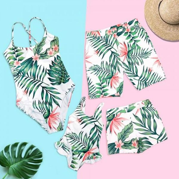 top popular Family Matching Swimwear Tropical Leaf Beachwear Father Mother and Children Swimsuit Swimming Trunks Family Set ZC001 2019