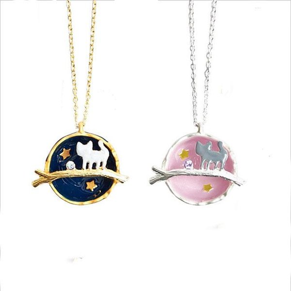 Cute Universe Earth Cat Necklace Gold Silver Animal Pendant Chains Fashion Jewelry for Women Girls DROP SHIP 162650