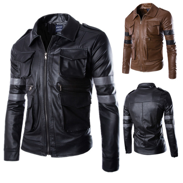 Men's Stand Collar PU Jacket Faux Leather Pockets Moto Biker Jacket Resident Evil 6 Leon Leather Motorcycle Coat Winter Outerwear Clothes