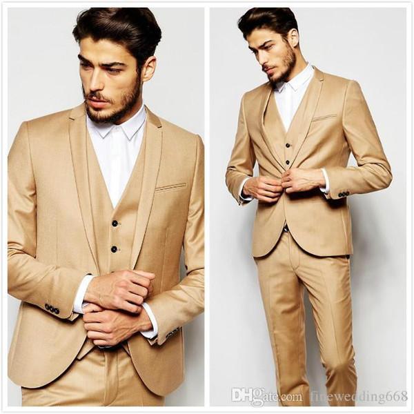 Newest Cool Beige Cheap And Fine Notch Lapel Wedding Groom Tuxedos Men Suits Wedding/Prom/Dinner Best Man Blazer (Jacket+Tie+Vest+Pants) 02