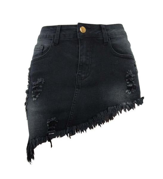 Frauen-kurzes Denim-Kleid zerrissene Loch-Quasten hohe elastische mittlere Taillenjeans Knie-Länge Röcke A-line beiläufige weibliche freies Verschiffen