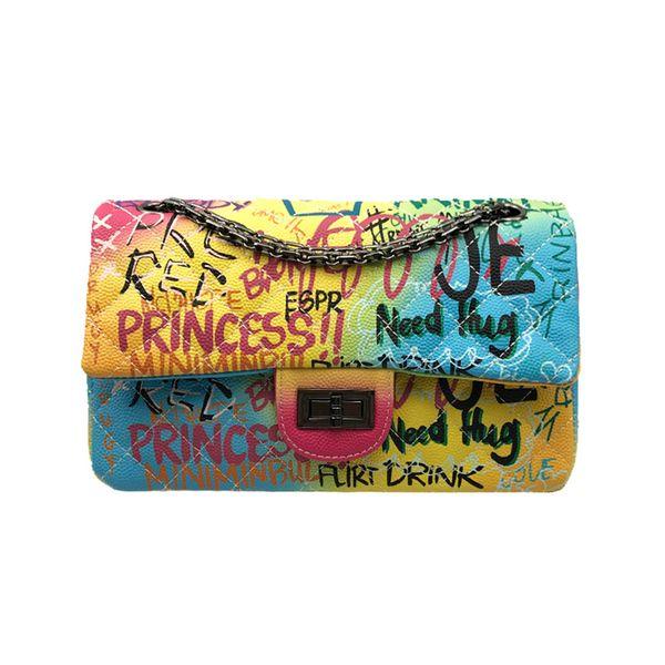 Medium Size Colorful Graffiti Rainbow Bag for Women 2019 Luxury Handbags Women Bags Designer Lady Crossbody Shoulder Bags