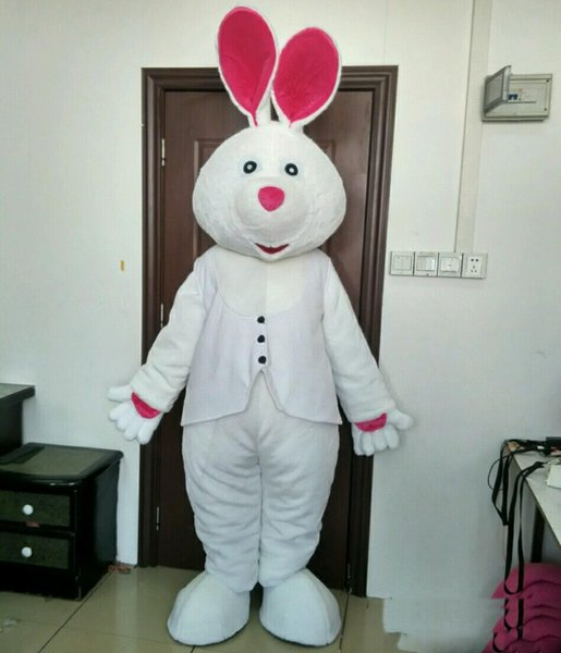 2018 Discount factory sale easter day animal costume suit white bunny rabbit mascot costumes for adult for sell