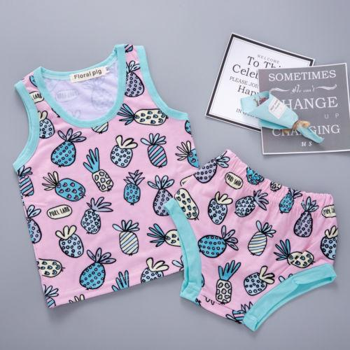 New Summer Kid Gilr Pineapple Clothes Set Baby Girl Cotton Outfits Sleeveless T-shirt+Brief Shorts Children Clothing 2PCS Set New Summer Kid Gilr Pineapple Clothes Set Baby Girl Cotton Outfits Sleeveless T-shirt+Brief Shorts Children Clothing 2PCS Set