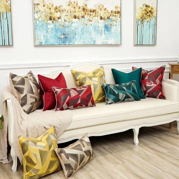 Treliça de luxo de Alta Qualidade De Seda Jacquard Capa de Almofada Fronha Fronha Sofá Decorativo Almofadas Sala de estar