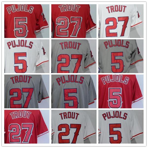 Barato # 27 Mike Trout # 5 Albert Pujols en blanco negro blanco rojo gris Cool Base Jerseys de béisbol bordado 100% cosido