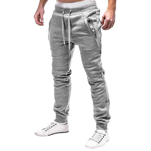 2018 Brand Men Harem Joggers Pants Slim Fitness Male Trousers Mens Joggers Solid Zipper Hip Hop Pants Sweat pants Pantalon Homme Y19060601