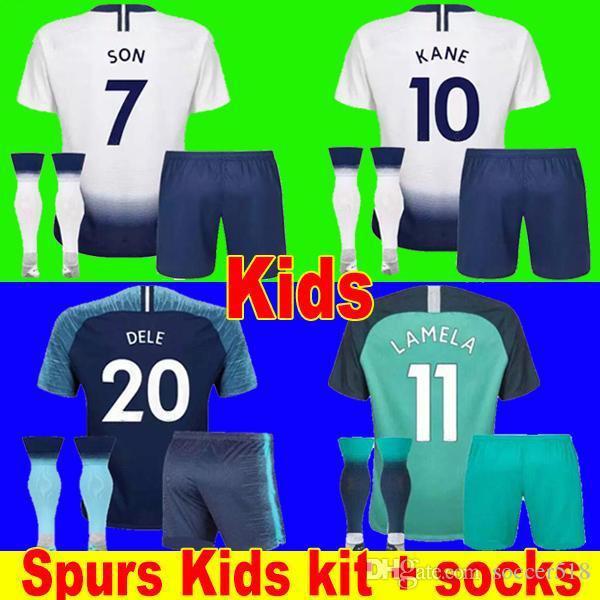 2019 Spurs HARRY KANE soccer jersey kids kit socks LAMELA ERIKSEN DELE SON jerseys 18 19 Football shirt uniforms CAMISETAS DE FUTBOL third