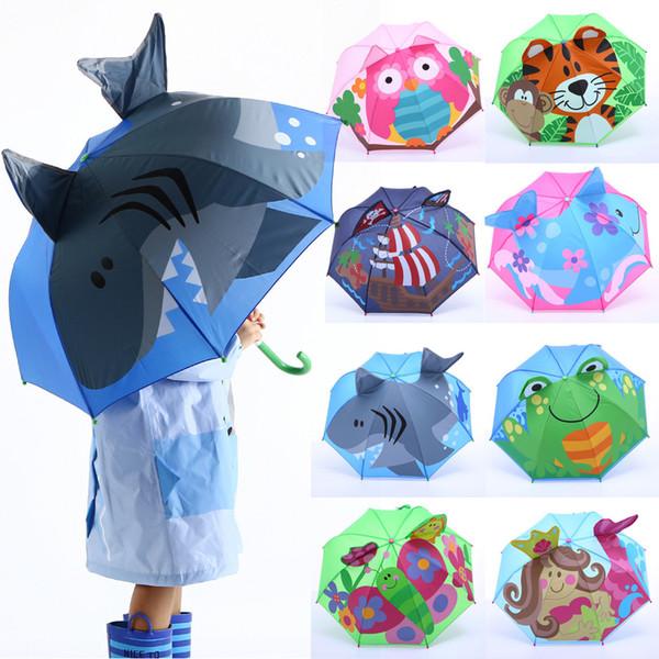 Bébé Couverture Parasol Pour protection contre la pluie Rayons de soleil UV 3D Cartoon extérieur parapluie vent résistant à la pluie parapluie pliant coupe-vent