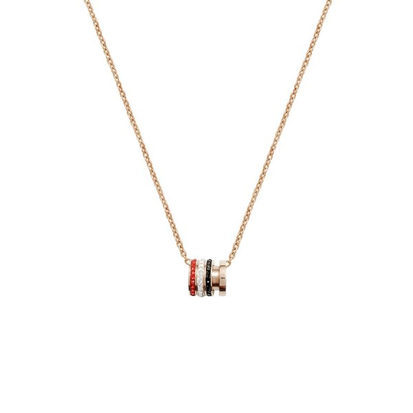 Korean fashion women's necklace plated rose gold titanium steel hot sale pendant net red clavicle chain necklace female