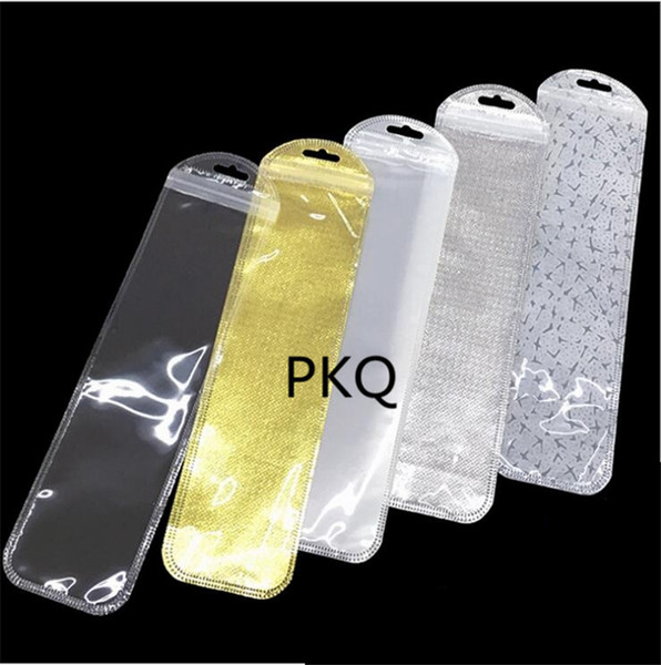 100pcs Long 5.5x21cm White/Clear Self Seal Zipper Plastic Retail Packaging Packing Poly Bag Zip lock Package Hang Hole for watch