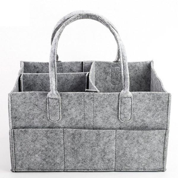 Do tecido do bebê malas infantil Grey sacola do tecido portátil Car Viagem Organizador Felt Basket recém-nascido da menina do menino fralda saco de armazenamento ZZA1411-3