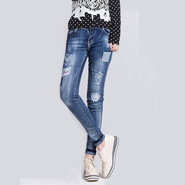 Women Summer Bleached high waist jeans Pants Casual Trousers Pockets For Ladies Blue Ripped fashion Skinny Denim Length Jeans