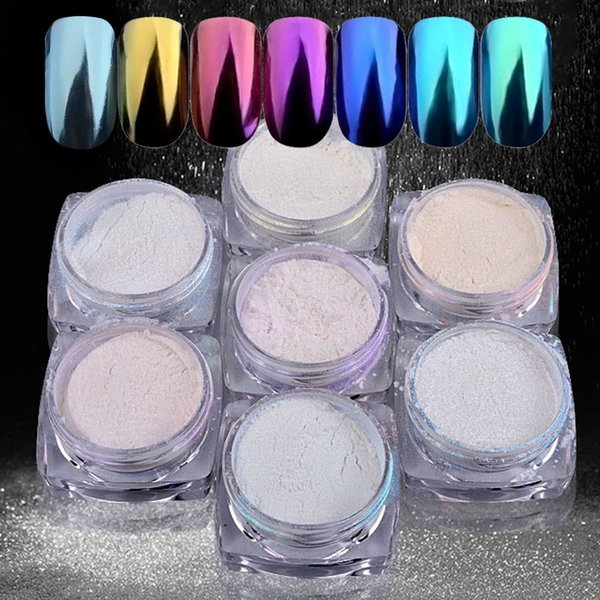 Ayna Nail Art İpuçları Glitter Toz Çiviler Dekorasyon Pigment DIY Manikür JS11