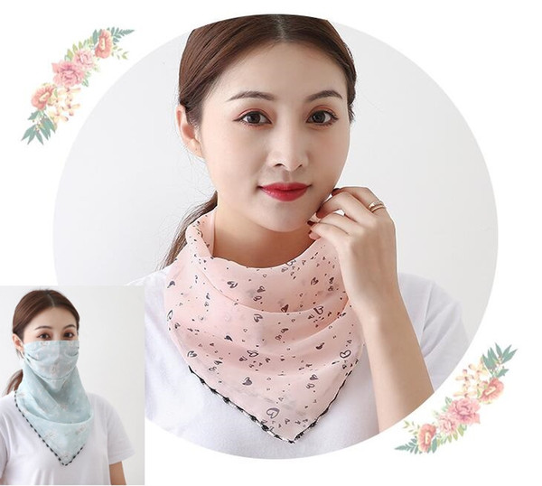 top popular 26 Styles Women Scarf Bandanas Double Silk Chiffon Mask Outdoor Windproof Mask Handkerchief Half Face Dust veil Sunshade Masks 2021