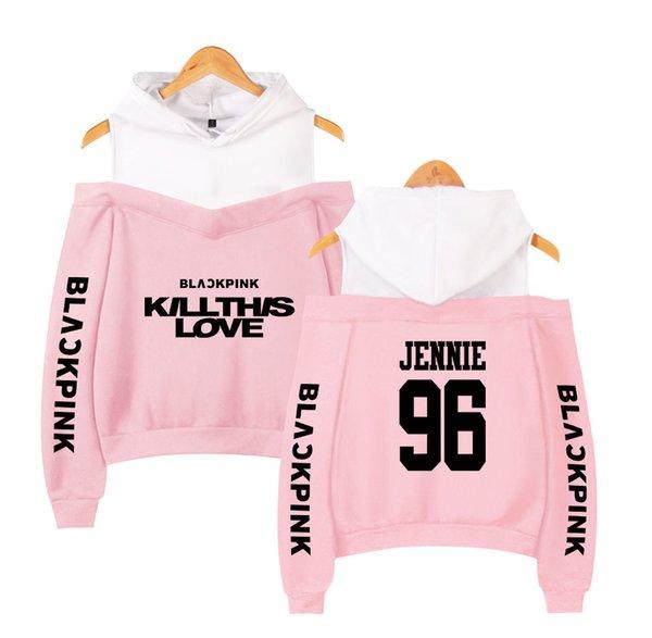 2019 nouveau BLACKPINK Femmes Sexy Sexy Filles Hoodies Sweatshirt Exclusivité coton noir rose K-pop Automne Harajuku vêtements