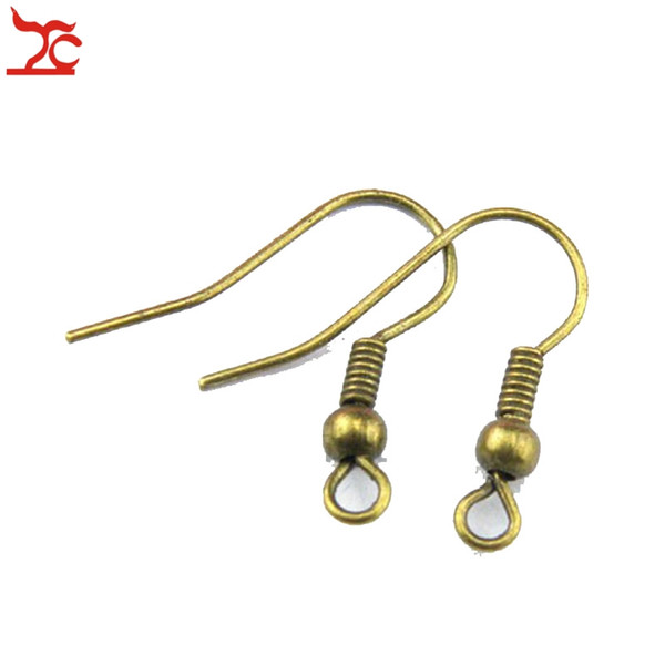 Wholesale Plated DIY Earring Hooks Gold Bronze Silver Earwire Clasp Accessories Jewelry Making Iron Hook Fittings For Women