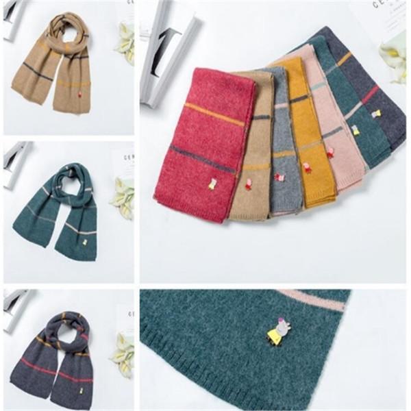Winter Warm Children Scarf With A Delicate Cartoon Figure Kids Scarves Soft Stripe Neckerchief Gift Multicolor 2019032411