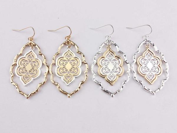 best selling Trendy Cut Out Morocco Dangle Chandelier Filigree Two Tone Frame Statement Drop Earrings for Women Earrings