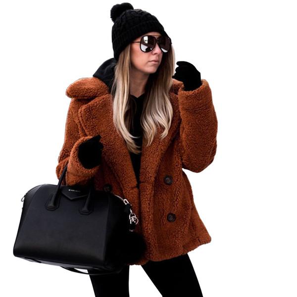 Großhandel Teddy Coat Frauen Plüschjacke Dicke Warme Pelz Rot Polar Fleece Mantel Mit Sherpa Kunstpelz Winter Casual Lamm Mäntel 2018 Mantel Von