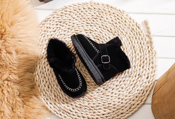 Kinderschneeschuhe Jungen und Mädchen Schuhe Winter 2019 neue Leder Baumwolle Stiefel Baby plus Samt dicke warme Baumwolle Schuhe