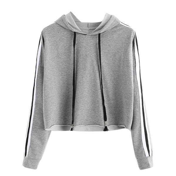 high quality Spring Autumn Winter Warm Womens Striped Long Sleeve Hoodie Sweatshirt Jumper Hooded Pullover Tops Blouse Trend