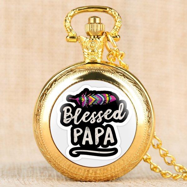 Vintage Medium Taschenuhren für Männer Dünne Kette Anhänger Uhr Sinnvolle Blessed Papa Serie Taschenuhr für Männer