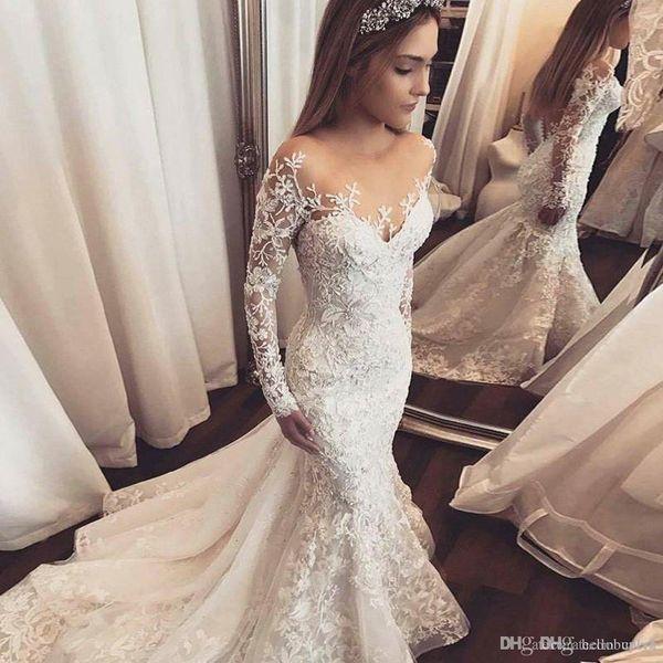 Vintage Luxury Lace Mermaid Wedding Dresses Long Sleeve Bling Long Train vestito da sposa Wedding Dresses Bridal Gwons 3D Flowers Sleeves