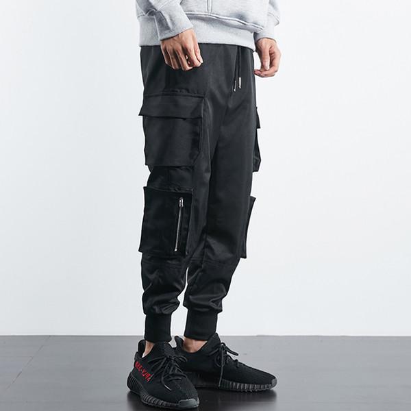 ffd8f258e3 2019 Hombres Hip Hop Hombres Cargo Jogger Pantalones Cordón Elástico Cintura  Lateral Bolsillos Grandes Streetwear Lápiz