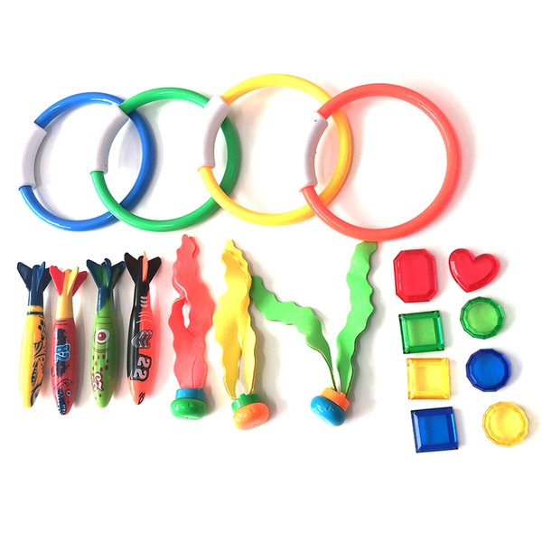 best selling 19pcs set Treasures Underwater Colorful Swimming Pool Plastic Balls Gifts Torpedo Sticks Diving Rings Games Beach Toys Funny