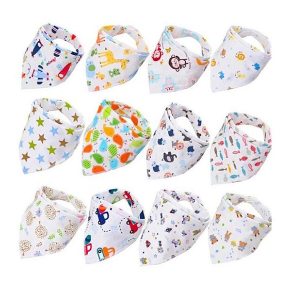 top popular Baby Print Saliva Towel Baby Infant Boy Girl Leisure Clothes Cotton Triangle Newborn Turban Bib Scarf Double Snap 19 2021