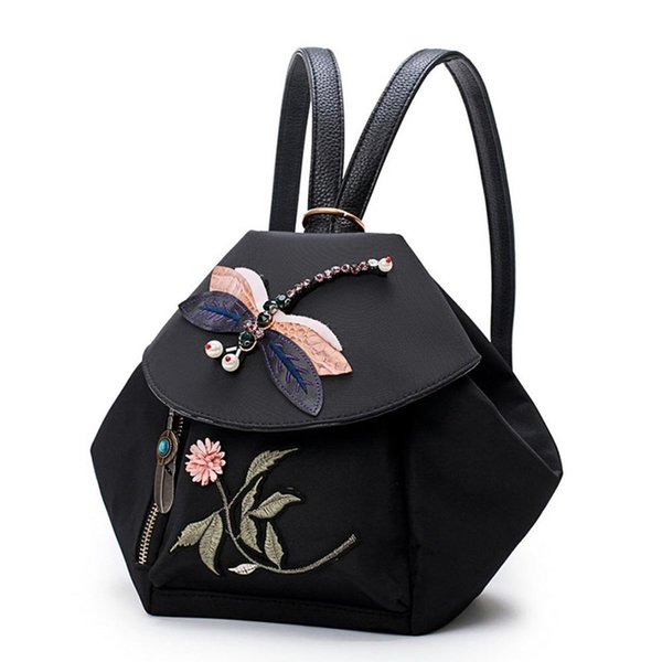 Fashion And Personality National Wind Rhinestones Dragonfly And Flower Embroidery Traditional Craft Shoulder Bag Fab
