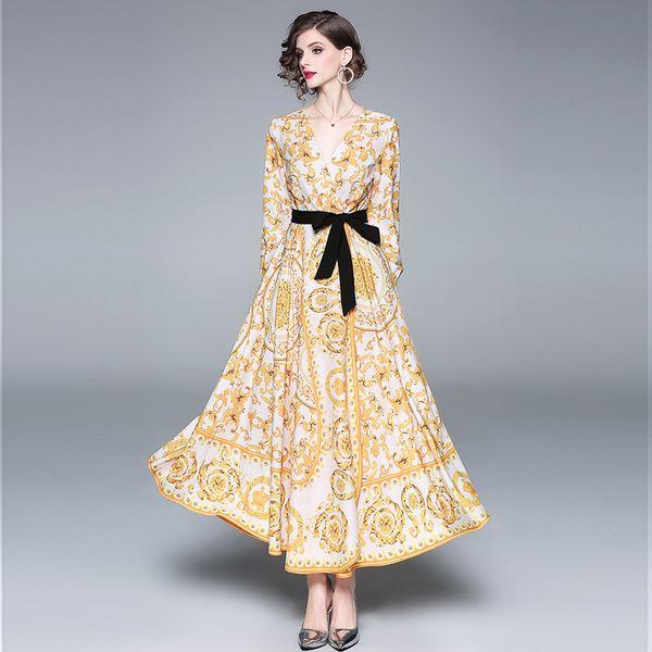 Runway Designer Baroque Maxi Dress Women's Elegant Sexy Long Sleeve V Neck Yellow Flower Print Black Belt Party Dresses Vestidos QP31688