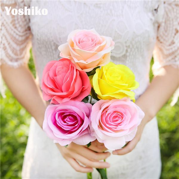 5pcs 50cm fiore della Rosa di seta artificiale falsificazione fiore per la festa della decorazione del partito casa nuziale di Natale di San Valentino