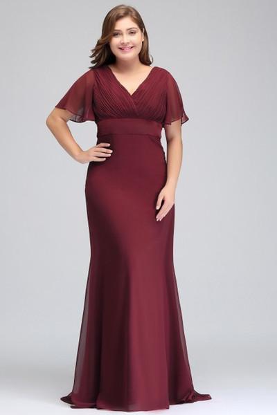Плюс размер свадебное платье рукав бабочки шифон бордовый платье невесты 2019 женщин длинные вечерние платья даже платье выпускного вечера
