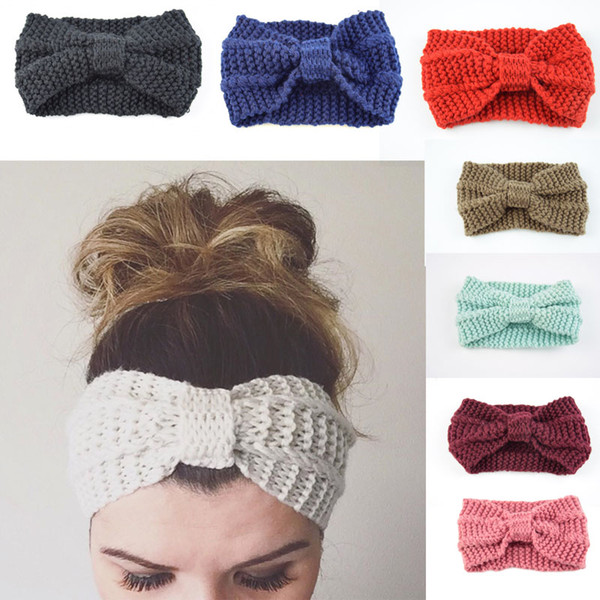 21*11cm Winter Women Warmer Hair Band Wool Knitted Hairband Hand-Woven Solid Color Headband Hair Accessories For Lady Girls Free DHL M25F