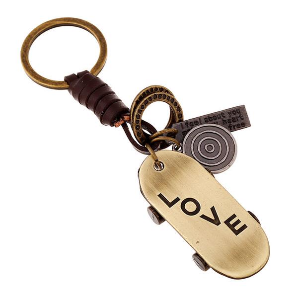 Moda Vintage AŞK Anahtarlık Retro Alaşım Kaykay Kolye Deri Zinciri Anahtarlık Çanta Araba Anahtarlık Bay Bayan Unisex Takı