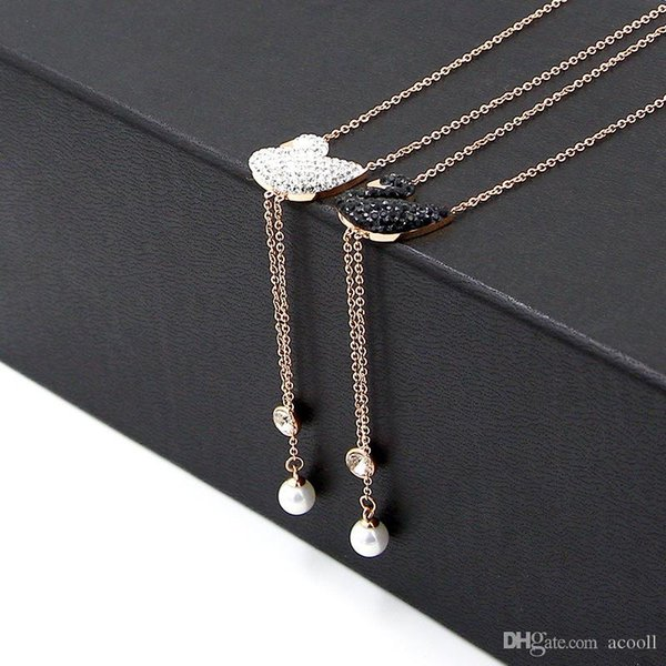Titanium plated rose gold crystal black and White Swan Pendant Necklace for lady's Pearl fringed Necklace Jewelry
