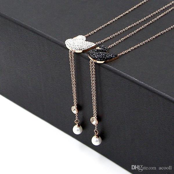 cristal or rose plaqué titane noir et blanc Collier Swan Pendentif Pearl dame frangés Bijoux Collier