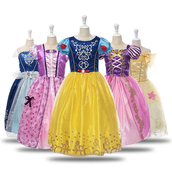 2019 Mädchen durchführen in Prinzessin Kleider für Weihnachten Kinder Kostüm Kinder Halloween Party Cosplay Kleid Geburtstag Cosplay Party