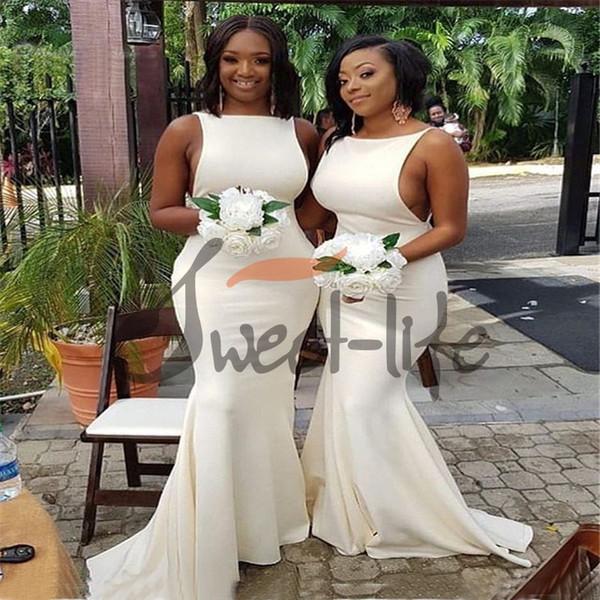 4b2d6fa8ea 2019 Vestido de dama de honor barato blanco atractivo Sirena larga Sin  espalda Vestido de noche para invitados de boda Fiesta de playa Vestidos de  baile ...