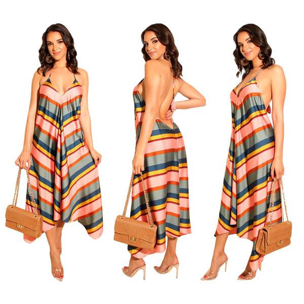 Summer dresses Striped slip dress Deep V neck Fashion Ruffled China women clothing manufacturer 2019 Summer European USA New style