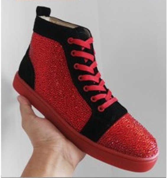 Free Shipping!New Rhinestone men women red bottom high top sneakers,fashion white genuine leather sports shoes169001