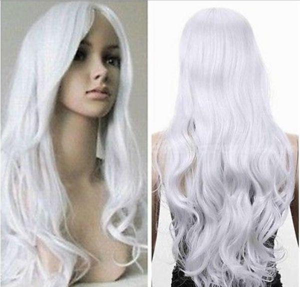 Perruque Livraison gratuite Dames Femmes Longs Blanc Curly Ondulés Western cheveux Complet Cosplay Déguisement Perruque