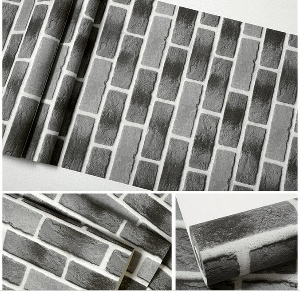 Wholesale-Red brick stone paper wall natural rustic vintage 3D effect designer vinyl wallpaper for living room background wall decor