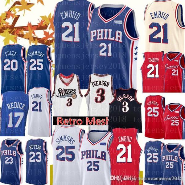 brand new 3cfe5 8aba4 2018 New 21 Joel Embiid Jersey 76ers Jerseys Mens 25 Ben ...