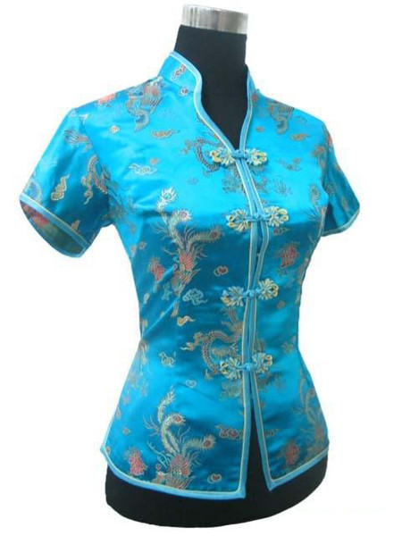 Promotion Blue Chinese Style Women Summer Blouse V-Neck Shirt Tops Silk Satin Tang Suit Top S M L XL XXL XXXL JY0044-4
